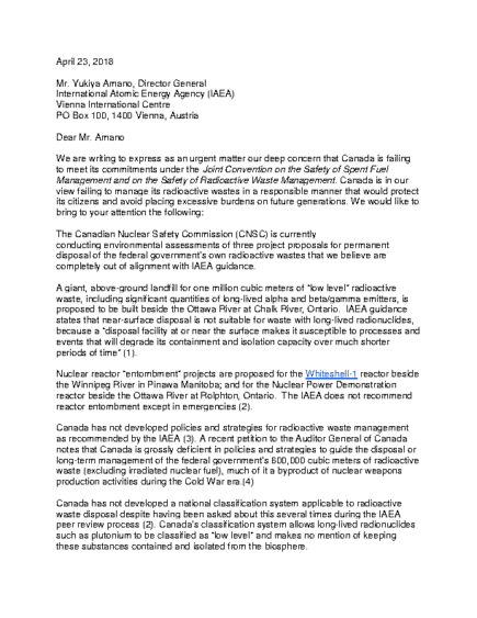 Letter to the International Atomic Energy Agency (IAEA)