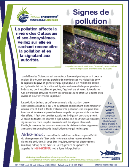 Signes de pollution