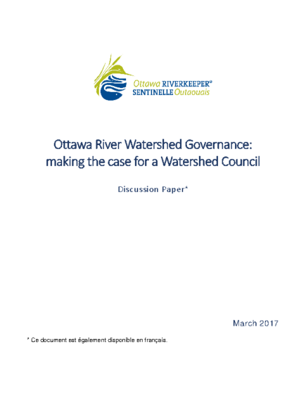 Ottawa River Watershed Governance