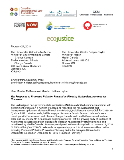Triclosan – NGOs Resp to RM P2Planning (final sign on -Feb 27 2018)