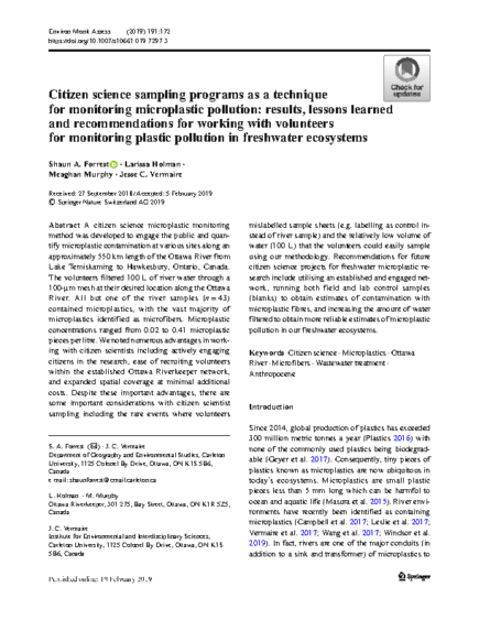 Citizen science sampling programs as a technique for monitoring microplastic pollution: results, lessons learned and recommendations for working with volunteers for monitoring plastic pollution in freshwater ecosystems