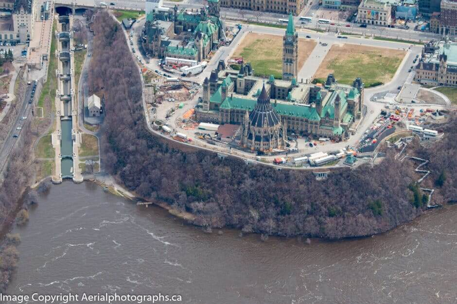 2019 Flooding at Parliament Hill - Photo from Aerialphotographs.ca